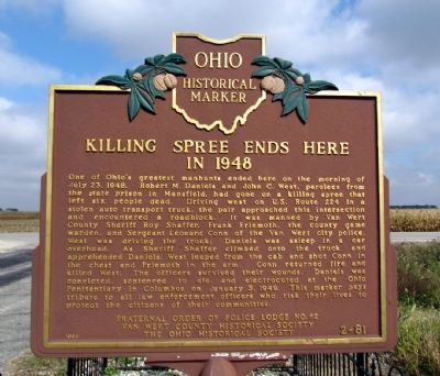 Killing Spree Ends Here in 1948 Marker image. Click for full size.
