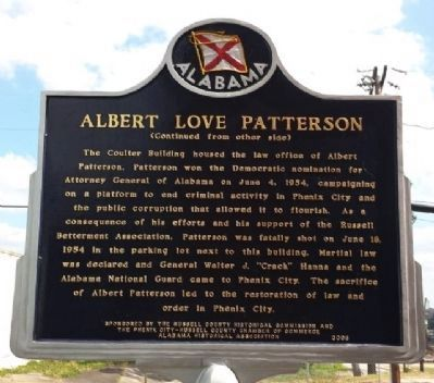Albert Love Patterson Marker (side 2) image. Click for full size.