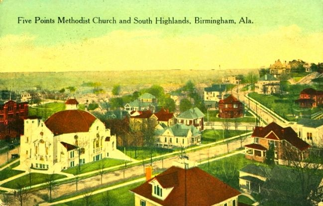 Five Points Methodist Church and South Highlands (looking northeast) image. Click for full size.
