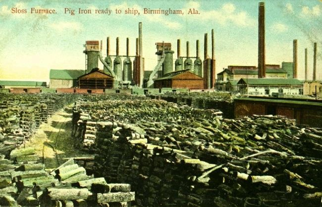 Sloss Furnace. Pig Iron Ready to Ship, Birmingham, Alabama. image. Click for full size.