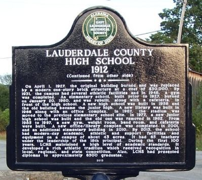 Lauderdale County High School 1912 Marker (side 2) image. Click for full size.
