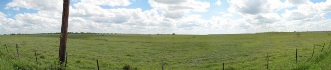 Panorama of where marker was, with ruts somewhat visible from road. image. Click for full size.