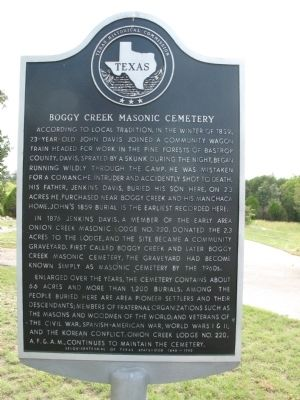 Boggy Creek Masonic Cemetery Marker image. Click for full size.