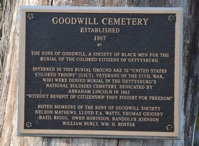 Goodwill Cemetery Plaque image. Click for full size.