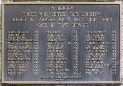 Those who Served our Country Buried in Farmers Mills Area Cemeteries Marker image. Click for full size.