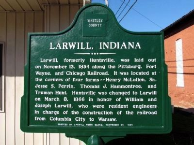 Larwill Indiana Marker image. Click for full size.