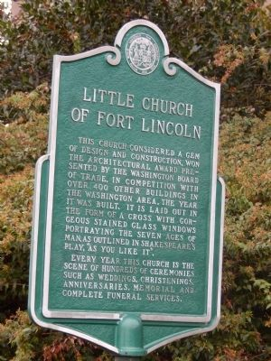 Little Church of Fort Lincoln Marker image. Click for full size.