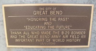 The B-29 Memorial Great Bend Marker image. Click for full size.
