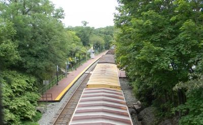 Freight cars on tracks adjacent to the MARC Germantown Train Station platform (center-left) image. Click for full size.