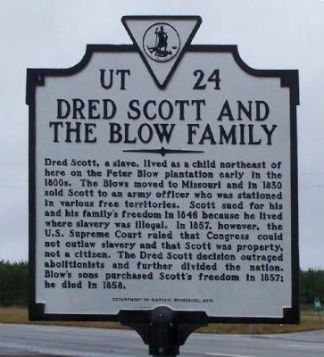 Dred Scott And The Blow Family Marker image. Click for full size.