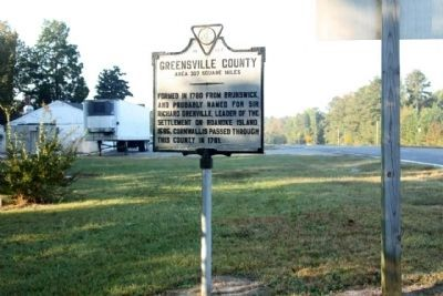 Greensville County Marker, looking south along Sussex Drive (U.S. 301) image. Click for full size.