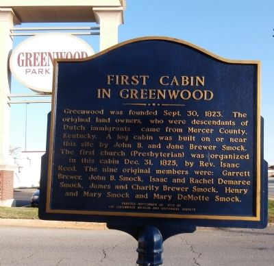Reverse Side - - First Cabin in Greenwood Marker image. Click for full size.