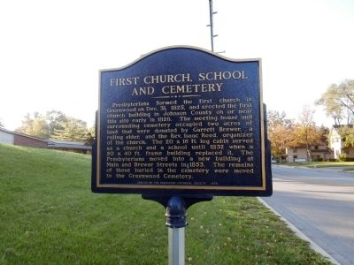 First Church, School and Cemetery Marker image. Click for full size.
