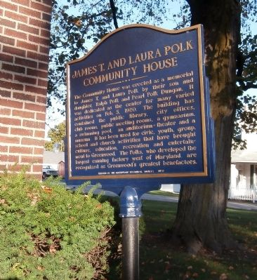 Reverse View - - James T. and Laura Polk Community House Marker image. Click for full size.