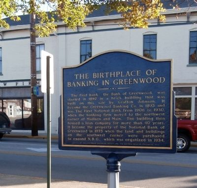 Reverse View - - The Birthplace of Banking in Greenwood Marker image. Click for full size.