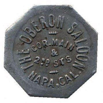 Oberon Saloon Drink Token (Obverse Side) image. Click for full size.