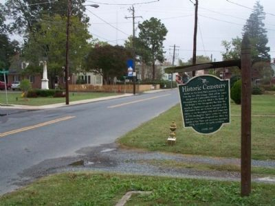 Historic Cemetery Marker seen along Market Street, looking east image. Click for full size.