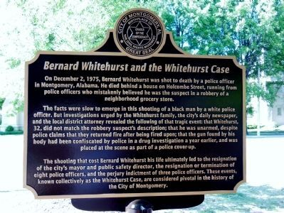 Bernard Whitehurst and the Whitehurst Case marker (side 1) image. Click for full size.