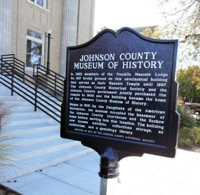 Reverse View - - Johnson County Museum of History Marker image. Click for full size.
