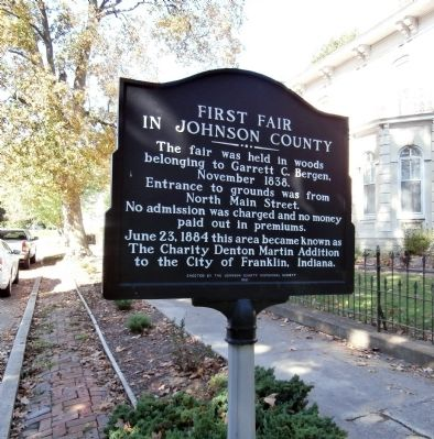 Reverse View - - First Fair in Johnson County Marker image. Click for full size.