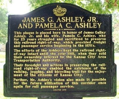 James G. Ashley, Jr. and Pamela C. Ashley Marker image. Click for full size.
