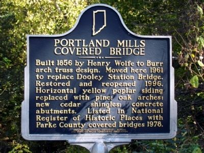 Portland Mills Covered Bridge Marker image. Click for full size.