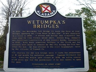 Wetumpka's Bridges Marker (side 1) image. Click for full size.