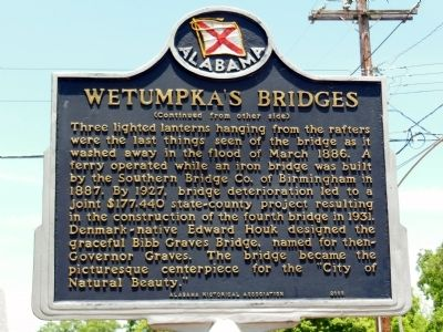 Wetumpka's Bridges Marker (side 2) image. Click for full size.