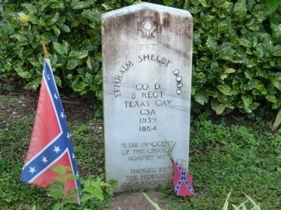 Confederate grave marker near the window to the left of the entrance door image. Click for full size.