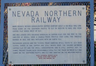 Nevada Northern Railway Historical Marker