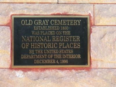 Old Gray Cemetery Marker image. Click for full size.