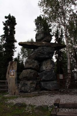 """Rock Man"" - 19 foot inuksuk image. Click for full size."