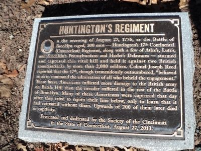 Huntington's Regiment Marker image. Click for full size.