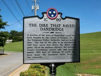 The Dike That Saved Dandridge Marker image. Click for full size.