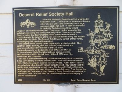 Deseret Relief Society Hall Marker image. Click for full size.