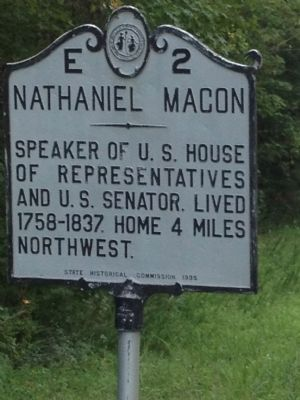 Nathaniel Macon Marker image. Click for full size.