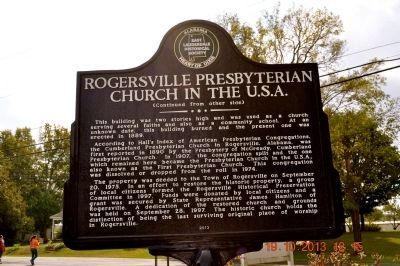 Rogersville Presbyterian Church in the U.S.A. Marker (side 2) image. Click for full size.