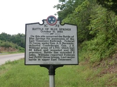 Battle of Blue Springs Marker image. Click for full size.