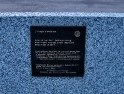 Site of the First Self-sustaining Controlled Nuclear Chain Reaction Marker image. Click for full size.
