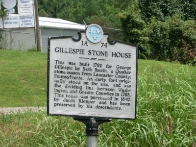 Gillespie Stone House Marker image. Click for full size.