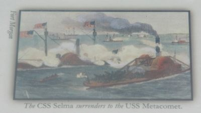 Bottom Left Image: The CSS Selma surrenders to the USS Metacomet (Fort Morgan) image. Click for full size.