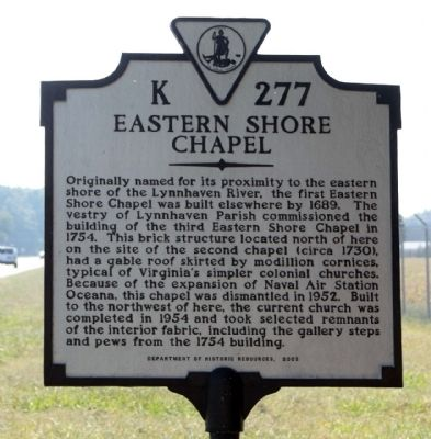 Eastern Shore Chapel Marker image. Click for full size.