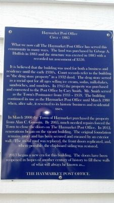 Haymarket Post Office Marker image. Click for full size.