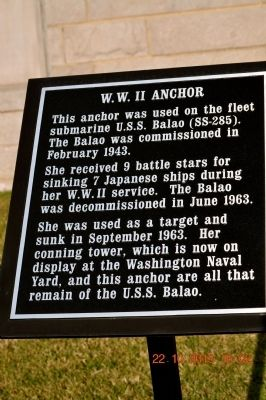 W.W. II Anchor Marker image. Click for full size.