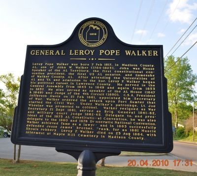 General Leroy Pope Walker Marker image. Click for full size.