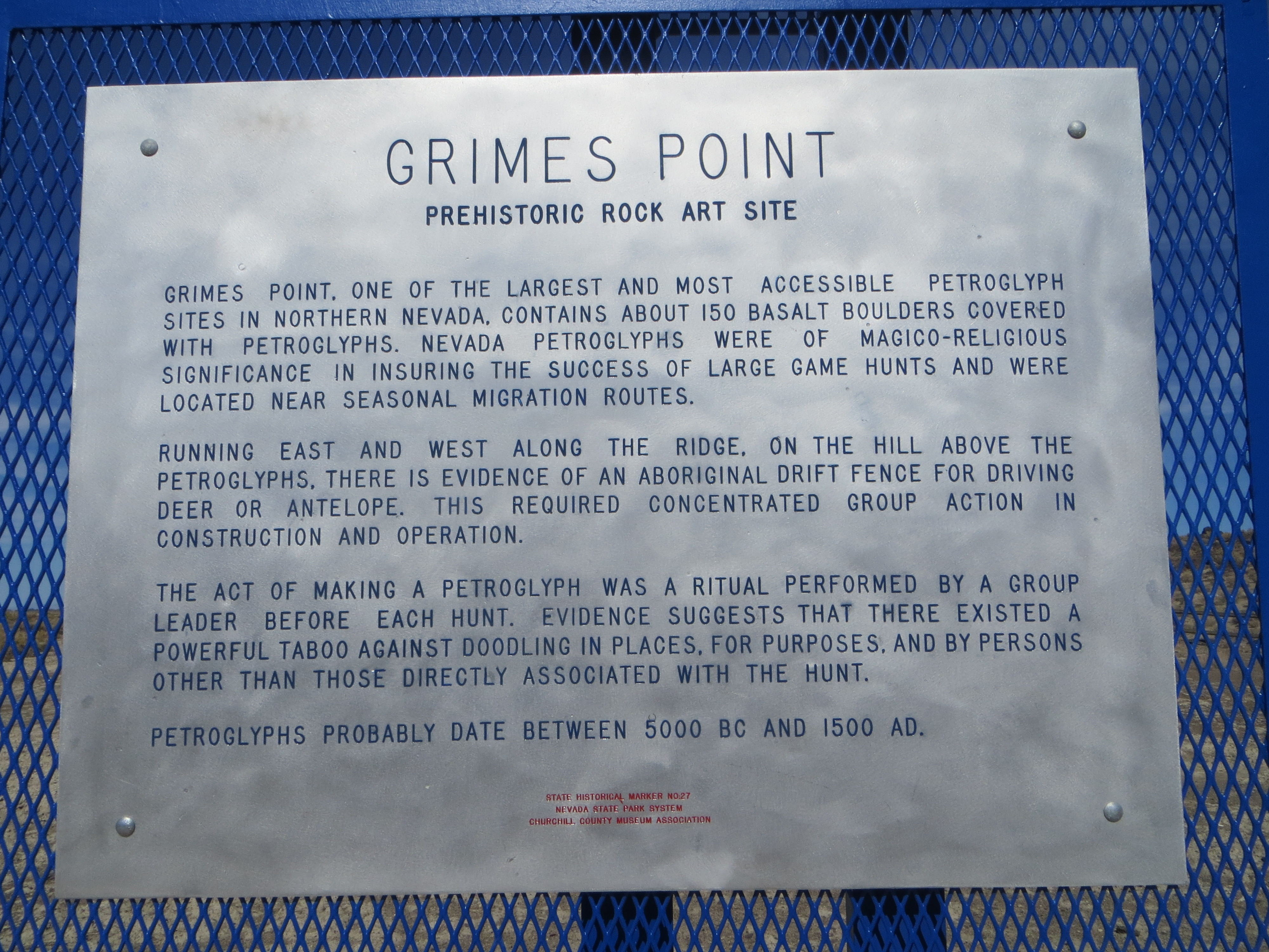 Grimes Point Marker