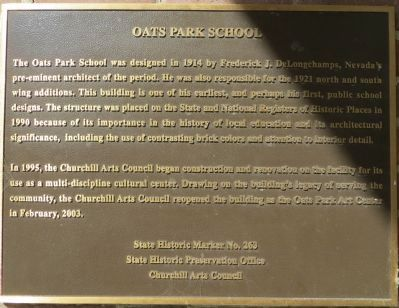 Oats Park School Marker image. Click for full size.