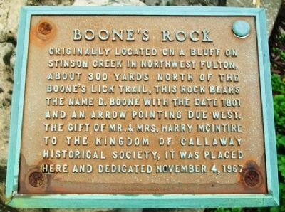 Boone's Rock Marker image. Click for full size.