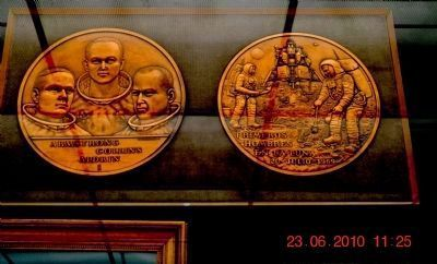 Armstrong • Collins • Aldrin plaques at the Marshall Space Flight Center Museum image. Click for full size.