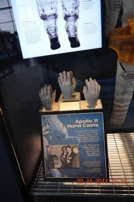 Armstrong • Collins • Aldrin hand casts at the U.S. Space & Rocket Center image. Click for full size.